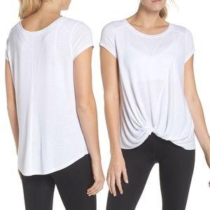 Zella Twisty Turn Tee White Active T Shirt Top M